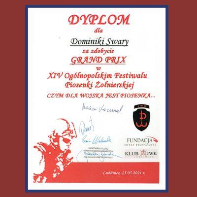 {[if_not_description]}Grand Prix na XIV Ogólnopolskim Festiwalu Piosenki Żołnierskiej dla Dominiki Swary {[/if_not_description]}