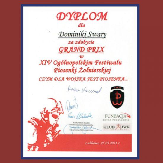 Grand Prix na XIV Ogólnopolskim Festiwalu Piosenki Żołnierskiej dla Dominiki Swary